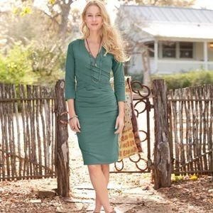 Sundance Eternal Compliment Green Ruched Dress M
